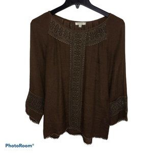 Jade Melody Tam Long Sleeve Blouse: Brown Solid